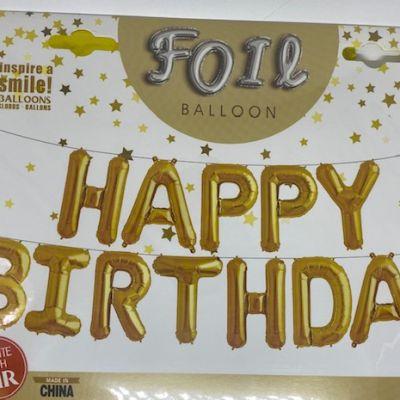 ballon air HAPPY BIRHTDAY GOLD